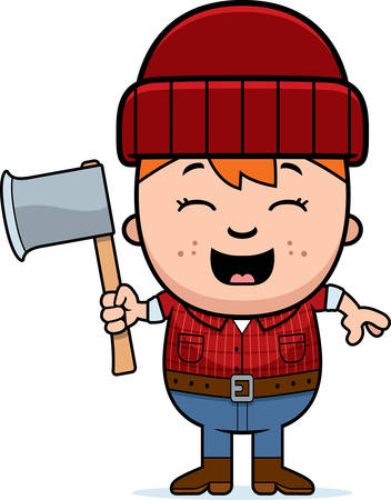woodsman: A cartoon illustration of a little lumberjack with an axe.