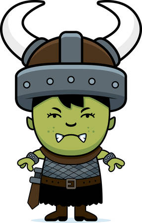 A cartoon illustration of an orc child looking angry.
