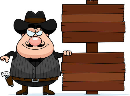 gunfighter: A cartoon illustration of a gunfighter with a wooden sign.
