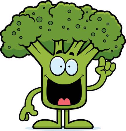 A cartoon illustration of a piece of broccoli with an idea.