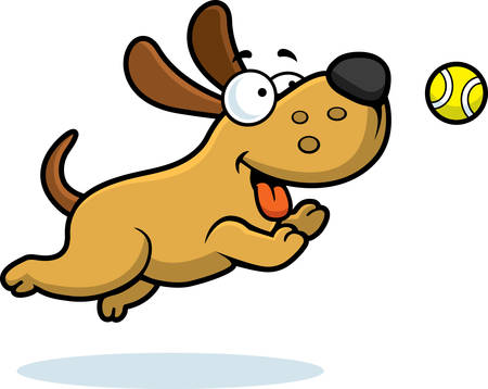 A cartoon illustration of a dog chasing a ball.