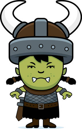 angry teenager: A cartoon illustration of an orc child looking angry.