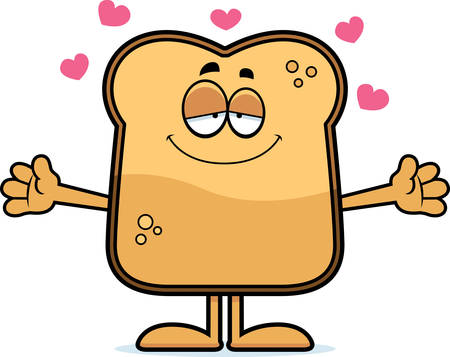 A cartoon illustration of a piece of toast ready to give a hug. Ilustracja