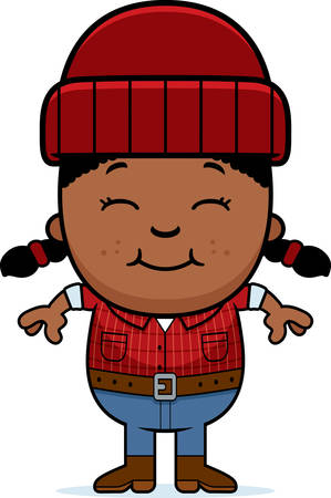 A cartoon illustration of a little lumberjack smiling. Ilustração