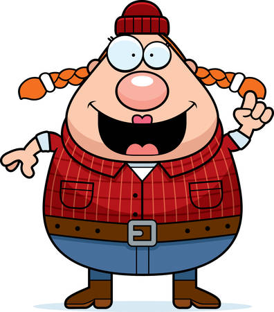 logger: A cartoon illustration of a woman lumberjack with an idea.