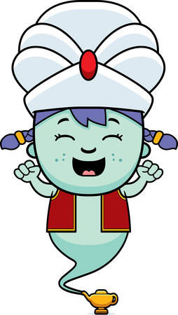 djinn: A cartoon illustration of a little genie celebrating.