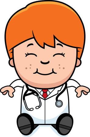 stethoscope boy: A cartoon illustration of a child doctor sitting.