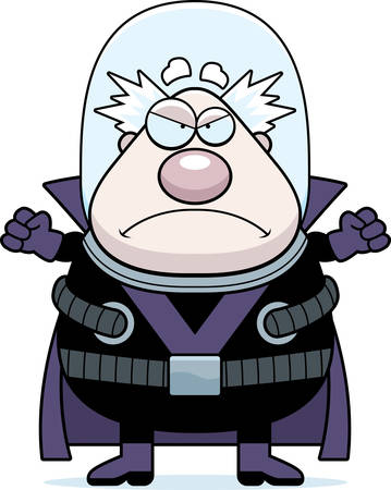 villain: A cartoon illustration of a supervillain looking angry.