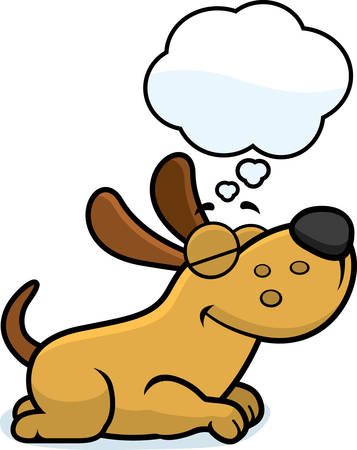 dog sleeping: A cartoon illustration of a dog sleeping and dreaming. Illustration