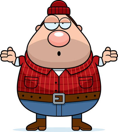 woodsman: A cartoon illustration of a lumberjack looking confused.