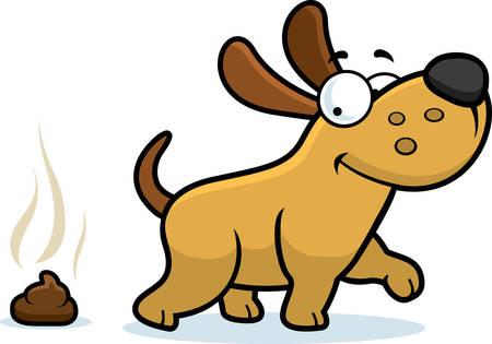 Een cartoon illustratie van een hond poepen.