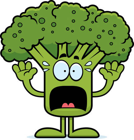 A cartoon illustration of a piece of broccoli looking scared.