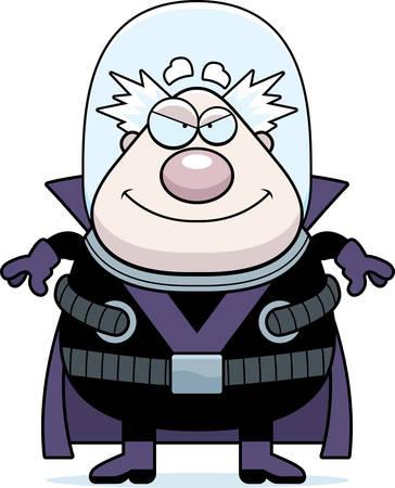 villain: A cartoon illustration of a supervillain smiling.