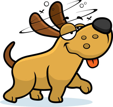 A cartoon illustration of a dog looking drunk. Illustration