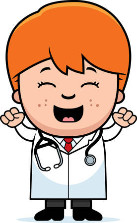 stethoscope boy: A cartoon illustration of a child doctor celebrating.