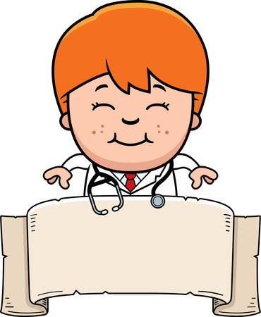 stethoscope boy: A cartoon illustration of a child doctor with a banner. Illustration