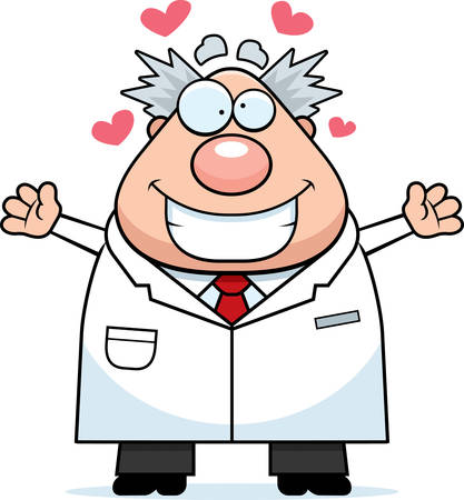lab coat: Un ejemplo de la historieta de un cient�fico loco dispuesto a dar un abrazo. Vectores