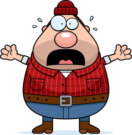 woodsman: A cartoon illustration of a lumberjack looking scared.
