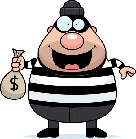 A cartoon illustration of a burglar with a moneybag.