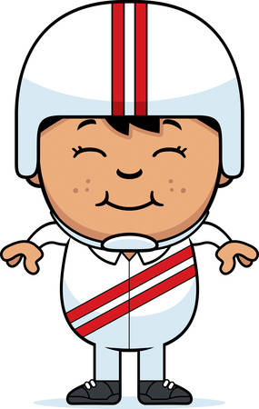 hispanic boy: A cartoon illustration of a little daredevil smiling.
