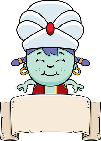 djinn: A cartoon illustration of a little genie with a banner. Illustration
