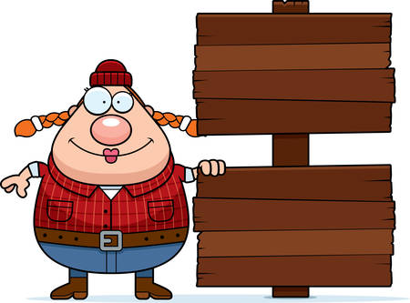 woodsman: A cartoon illustration of a woman lumberjack with a wooden sign. Illustration