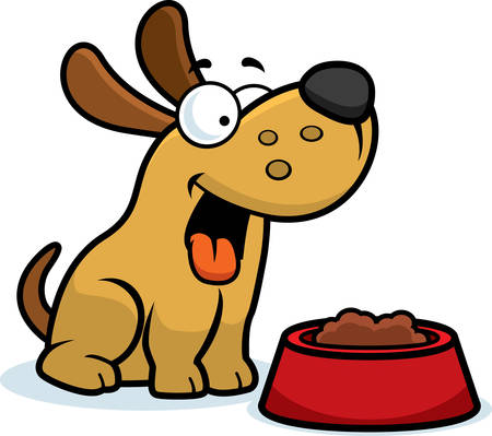 Uma ilustração dos desenhos animados de um cachorro com uma tigela de comida.