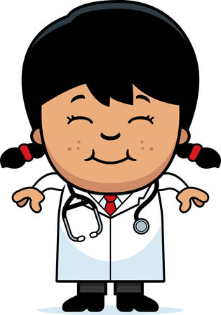 latina: A cartoon illustration of a child doctor smiling.