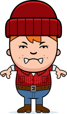 woodsman: A cartoon illustration of a little lumberjack looking angry.