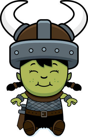 child sitting: A cartoon illustration of an orc child sitting.