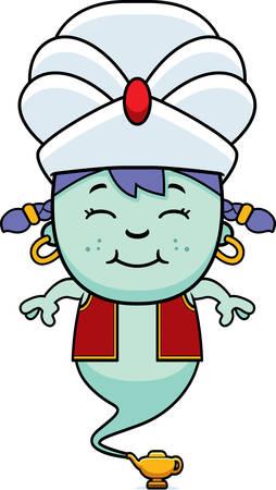 jinn: A cartoon illustration of a little genie smiling.