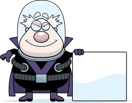 villain: A cartoon illustration of a supervillain with a sign. Illustration