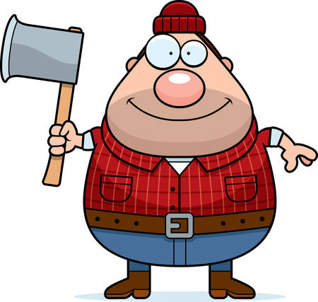 woodsman: A cartoon illustration of a lumberjack with an axe. Illustration