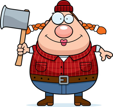 woodsman: A cartoon illustration of a woman lumberjack with an axe.