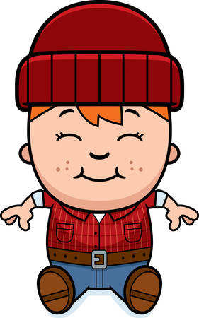 woodsman: A cartoon illustration of a little lumberjack sitting.