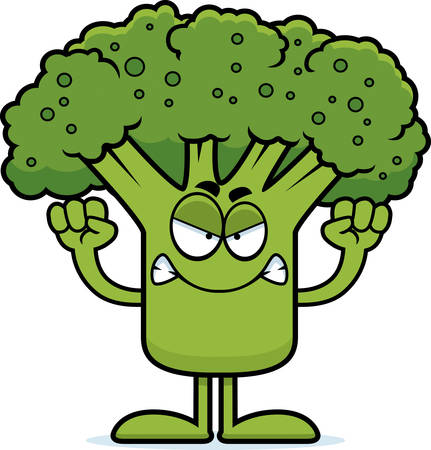 A cartoon illustration of a piece of broccoli looking angry. 向量圖像