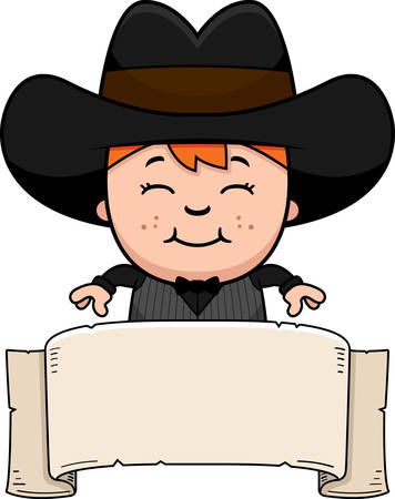 gunfighter: A cartoon illustration of a little gunfighter with a banner. Illustration