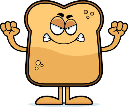 toasted: A cartoon illustration of a piece of toast looking angry.