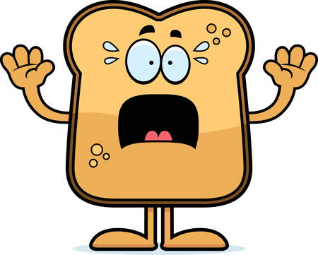 toasted: A cartoon illustration of a piece of toast looking scared.