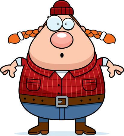 logger: A cartoon illustration of a woman lumberjack looking surprised. Illustration