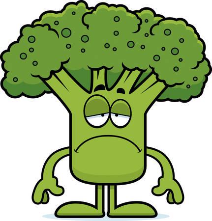 A cartoon illustration of a piece of broccoli looking sad.