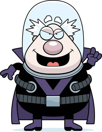 villain: A cartoon illustration of a supervillain with an idea. Illustration