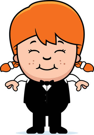 A cartoon illustration of a little waiter smiling.