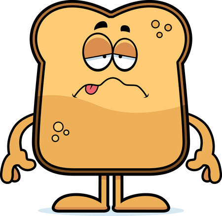 toasted: A cartoon illustration of a piece of toast looking sick.