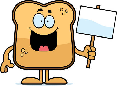 A cartoon illustration of a piece of toast holding a sign.
