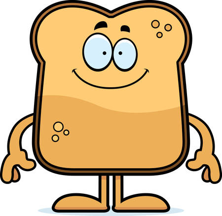 A cartoon illustration of a piece of toast looking happy. Ilustracja