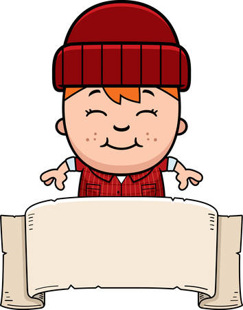 woodsman: A cartoon illustration of a little lumberjack with a banner.