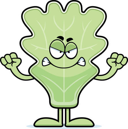 A cartoon illustration of a lettuce leaf looking angry.