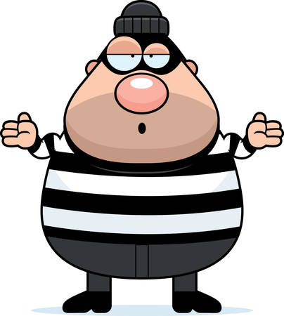 burglar: A cartoon illustration of a burglar looking confused.