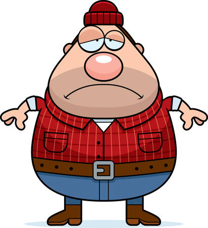 woodsman: A cartoon illustration of a lumberjack looking sad. Illustration